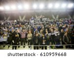 blurred background of crowd of... | Shutterstock . vector #610959668
