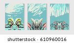 hand drawn vector tropical...   Shutterstock .eps vector #610960016