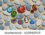 Round Pebbles Stones From Sea...