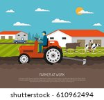farm background with flat... | Shutterstock .eps vector #610962494
