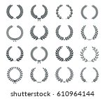 collection of black and white... | Shutterstock .eps vector #610964144