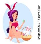 easter bunny girl illustration. ...   Shutterstock .eps vector #610964504