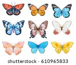 Stock photo set of beautiful watercolor butterflies blue yellow pink and red butterfly illustration 610965833