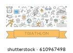 line web banner for triathlon.... | Shutterstock . vector #610967498