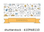 line concept for banking.... | Shutterstock . vector #610968110