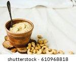 cashew sauce  raw vegan cheese... | Shutterstock . vector #610968818