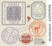 travel stamps or symbols set... | Shutterstock .eps vector #610969058