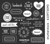 hand made labels. vector. hand... | Shutterstock .eps vector #610973090