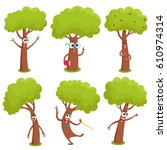 set of funny comic tree...