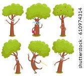 Set Of Funny Comic Tree...