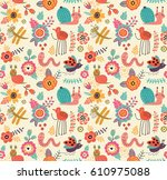 seamless pattern with cute bugs | Shutterstock .eps vector #610975088
