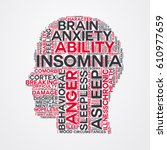 insomnia word cloud head... | Shutterstock .eps vector #610977659