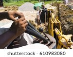 digging hole for septic tank...   Shutterstock . vector #610983080