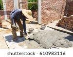 mix a cement at construction... | Shutterstock . vector #610983116