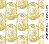 golden kiwi seamless pattern in ... | Shutterstock .eps vector #610987298