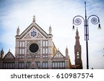 the basilica di santa croce in... | Shutterstock . vector #610987574