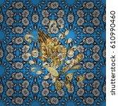 vector oriental style... | Shutterstock .eps vector #610990460