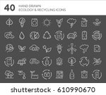 hand drawn ecology and... | Shutterstock .eps vector #610990670