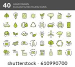 hand drawn ecology and... | Shutterstock .eps vector #610990700