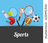 sport related icons. colorful... | Shutterstock .eps vector #610991543