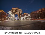 moscow's triumphal gates in the ... | Shutterstock . vector #610994936