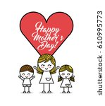 happy mothers day card with... | Shutterstock .eps vector #610995773