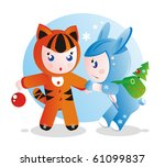 Children in costumes for the eastern calendar years - the tiger and the rabbit. - stock photo