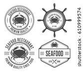 seafood vintage emblems   Shutterstock .eps vector #610999574