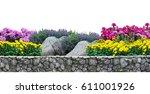 flower garden and stone fence...   Shutterstock . vector #611001926