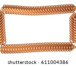 gold armored fish scale frame ... | Shutterstock . vector #611004386