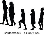 vector silhouette of group of... | Shutterstock .eps vector #611004428