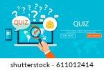 quiz. quiz online on laptop.... | Shutterstock .eps vector #611012414