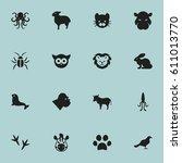set of 16 editable animal icons.... | Shutterstock . vector #611013770