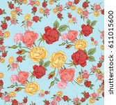 colorful roses. flowers... | Shutterstock . vector #611015600