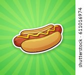 vector illustration. hot dog... | Shutterstock .eps vector #611016974