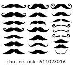 set of moustaches | Shutterstock .eps vector #611023016