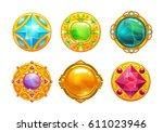 fantasy golden amulets set.... | Shutterstock .eps vector #611023946