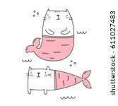 cat mermaid  | Shutterstock .eps vector #611027483