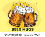 vector image of two mugs of... | Shutterstock .eps vector #611027924