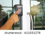 close up hand pressing keyword... | Shutterstock . vector #611031278