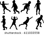 boy silhouette pose different... | Shutterstock .eps vector #611033558