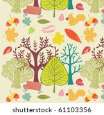 autumn forest background | Shutterstock .eps vector #61103356