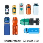 flat cars and trucks  police ... | Shutterstock .eps vector #611035610