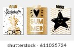 set of three vector golden... | Shutterstock .eps vector #611035724