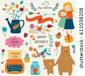 set of cute illustrations for... | Shutterstock .eps vector #611038208