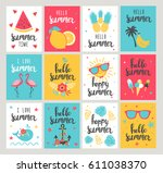 set of summer holiday cards.... | Shutterstock .eps vector #611038370