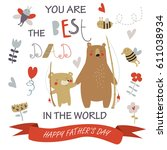 father's day card with cute... | Shutterstock .eps vector #611038934
