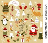 christmas cards with cute santa ... | Shutterstock .eps vector #611038964