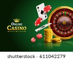 casino roulette with chips ... | Shutterstock .eps vector #611042279