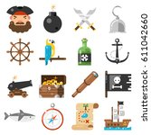 pirates icons vector set on... | Shutterstock .eps vector #611042660